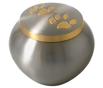 Gold pawprint urn