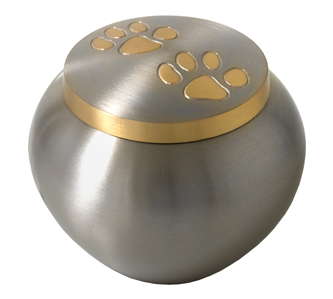 Gold pawprint urn