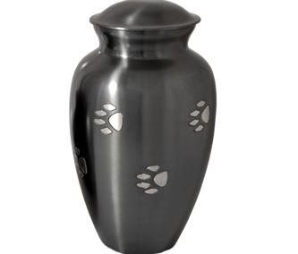 Silver pawprint urn