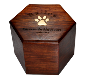 Wooden hexagon engraved urn
