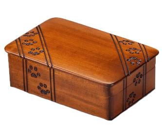Wooden pawprint urn
