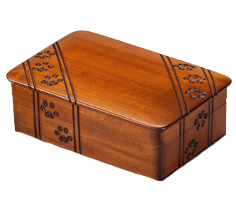 Wooden pawprint urn
