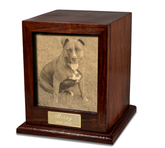 Wooden photo urn